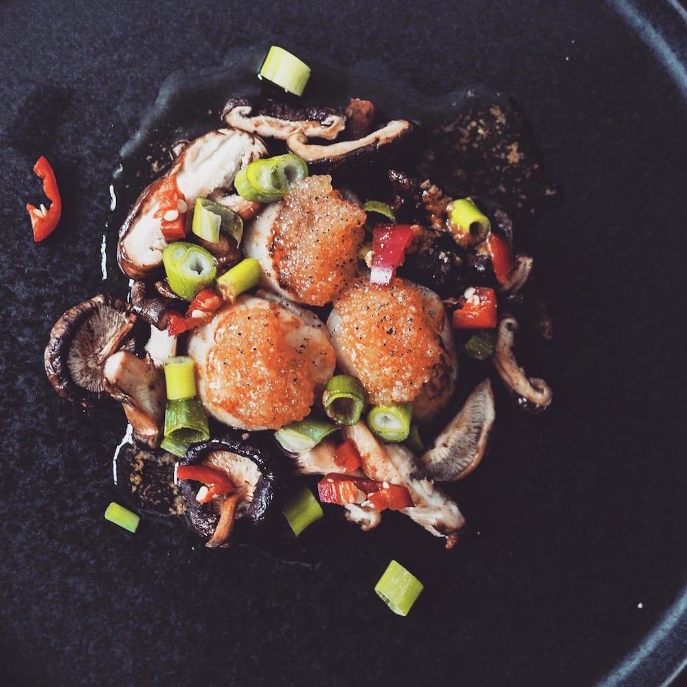 Kammusslor med shiitake