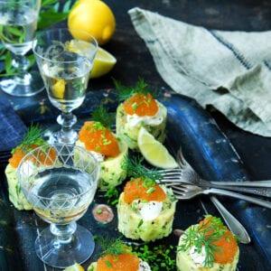 Krossad mandelpotatis med löjrom